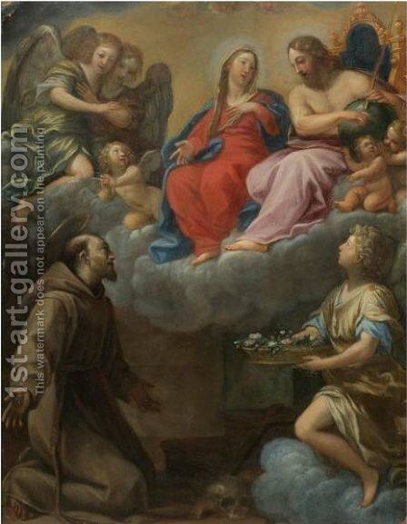 The Vision Of Saint Francis by (after) Francesco Albani - Reproduction Oil Painting