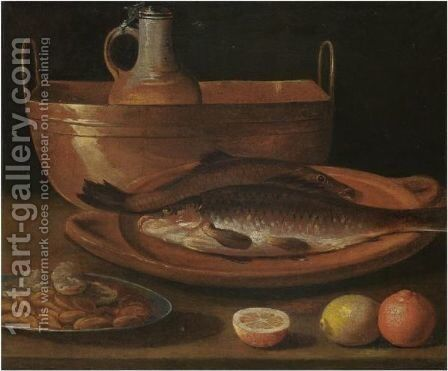 A Still Life With Carp On A Plate, A Pitcher In A Bucket, Almonds And Citrus Fruits On A Table by (after) Sebastien Stoskopff - Reproduction Oil Painting
