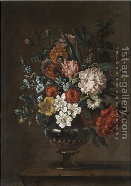 A Still Life With A Bouquet Of Flowers In A Glass Vase On A Stone Ledge by (after) Jean-Baptiste Monnoyer - Reproduction Oil Painting