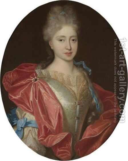 Portrait Of A Lady, Half Length, In A White Embroidered Silk Dress With Blue Ribbons And A Red Silk Wrap by (after) Largilliere, Nicholas de - Reproduction Oil Painting