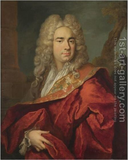 Portrait Of A Gentleman, Half Length, Wearing A Red Cape by (after) Nicolas De Largillierre - Reproduction Oil Painting