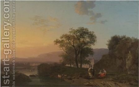 An Italianate River Landscape At Sunset With Shepherdesses Resting In The Foreground by Jacques-Antoine Vallin - Reproduction Oil Painting