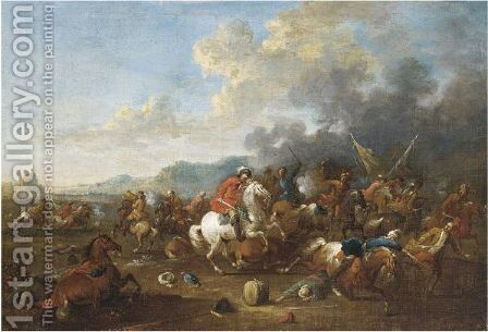 A Cavalry Skirmish by Arnold Frans Rubens - Reproduction Oil Painting