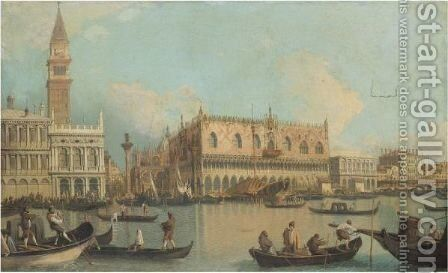 Venice, A View Of The Bacino Di San Marco Grand Canal With The Palazzo Ducale by (after) (Giovanni Antonio Canal) Canaletto - Reproduction Oil Painting