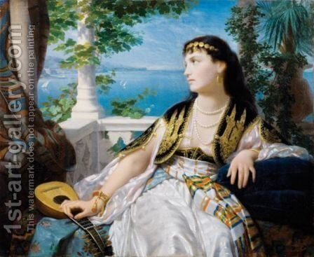 Young Oriental by Ecole Francaise, Xixeme Siecle - Reproduction Oil Painting