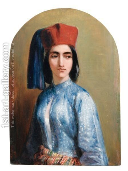 Egyptian Girl In Cairo by Marshall Claxton - Reproduction Oil Painting