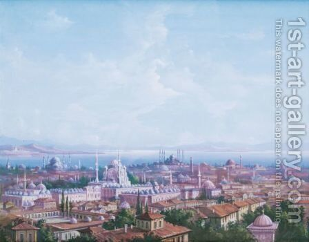 Mosquees A Constantinople by (after) Carlo Bossoli - Reproduction Oil Painting