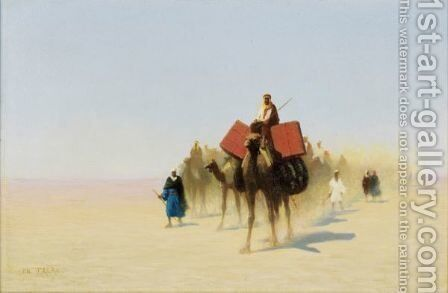 Caravan Of Egyptian Dealers, Suez Desert by Charles Théodore Frère - Reproduction Oil Painting