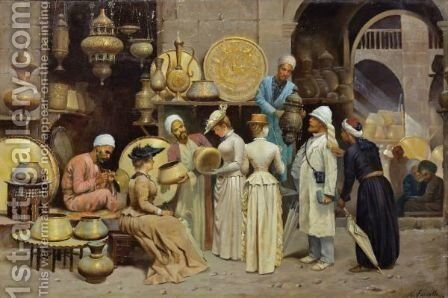 In The Coppers' Souk by Nicola Forcella - Reproduction Oil Painting