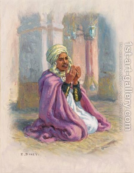 A Man In Prayer by Alphonse Etienne Dinet - Reproduction Oil Painting