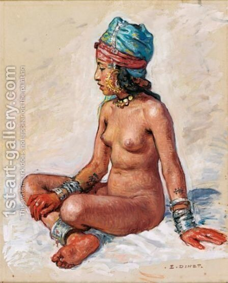 Bather In The Palm Plantation by Alphonse Etienne Dinet - Reproduction Oil Painting