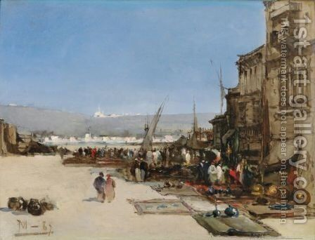 Market Scene by Ecole Francaise, Xixeme Siecle - Reproduction Oil Painting