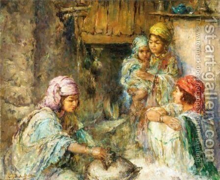 Family Scene by Edward Verschaffelt - Reproduction Oil Painting
