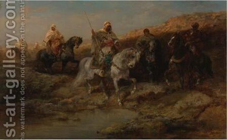 Arab Horsemen 3 by Adolf Schreyer - Reproduction Oil Painting