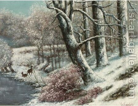 La Foret En Hiver by Gustave Courbet - Reproduction Oil Painting