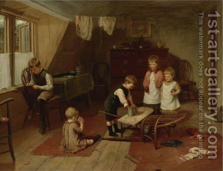 Children At Play by Herry Brooker - Reproduction Oil Painting