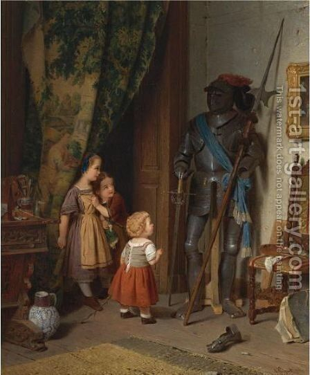 Children In The Painter's Studio by August Friedrich Siegert - Reproduction Oil Painting