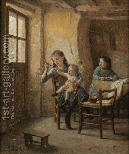 The Children's Meal by Theophile Emmanuel Duverger - Reproduction Oil Painting