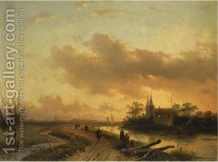 Figures On A Riverbank At Dusk by Charles Henri Leickert - Reproduction Oil Painting