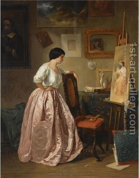 In The Artist's Studio by Anna Marguerite Elisabeth Van Limburg Stirum - Reproduction Oil Painting
