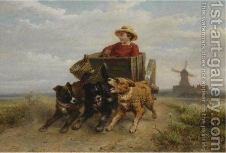 The Afternoon Ride by Henriette Ronner-Knip - Reproduction Oil Painting