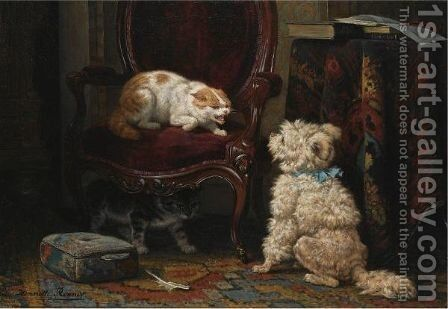 The Uninvited Guest by Henriette Ronner-Knip - Reproduction Oil Painting