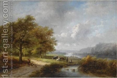 A Traveller In A Wooded Landscape by Jan Evert Morel - Reproduction Oil Painting