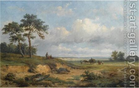 Travellers In An Extensive Landscape by Anthonie Jacobus Van Wijngaerdt - Reproduction Oil Painting