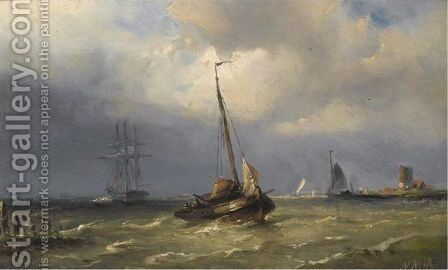 Shipping On A River by Nicolaas Martinus Wijdoogen - Reproduction Oil Painting