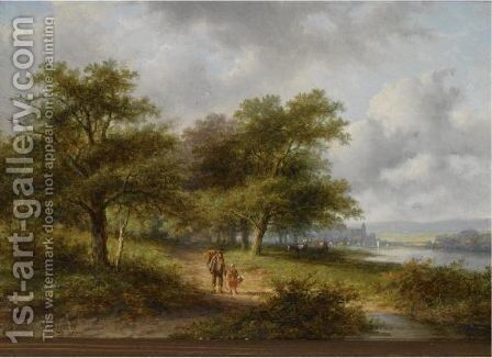 Travellers On A Country Road, A Town In The Distance by Jan Evert Morel - Reproduction Oil Painting
