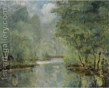 Figures On The Banks Of The River Epte Near Gasny by Cesar De Cock - Reproduction Oil Painting