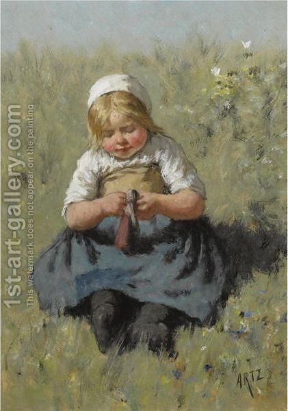 A Girl Playing With A Doll by David Adolf Constant Artz - Reproduction Oil Painting