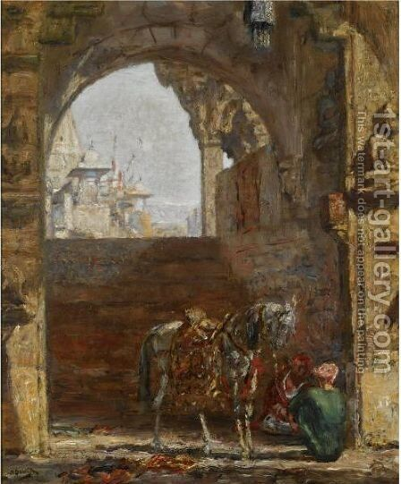 Figures And A Horse Under A Gateway, India by Marius Bauer - Reproduction Oil Painting