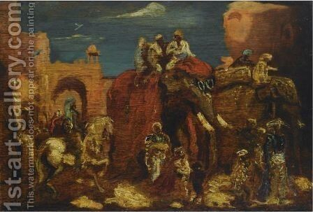 A Parade Of Elephants by Marius Bauer - Reproduction Oil Painting