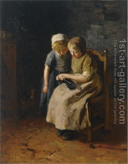 The Knitting Lesson 2 by Albert Neuhuys - Reproduction Oil Painting