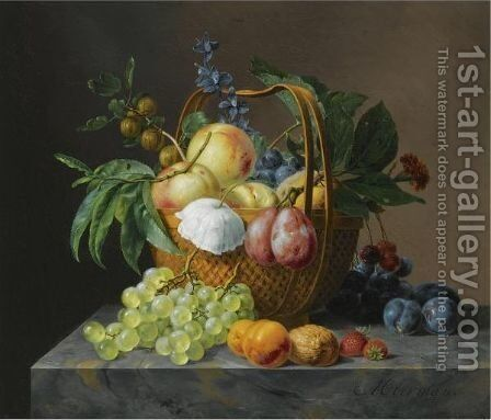 A Still Life With Fruit And Flowers In A Basket by Anthony Oberman - Reproduction Oil Painting