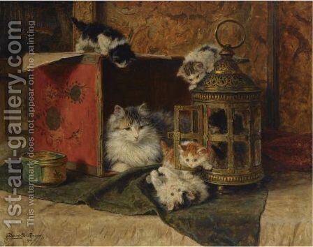 A Mother Cat Watching Her Kittens Playing by Henriette Ronner-Knip - Reproduction Oil Painting