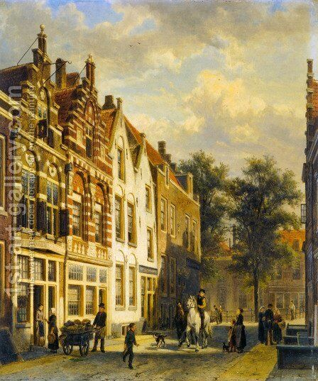 Figures In The Sunlit Streets Of A Dutch Town 2 by Cornelis Springer - Reproduction Oil Painting