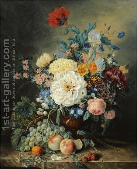 A Still Life With Flowers And Fruit by Adriana Van Ravenswaay - Reproduction Oil Painting