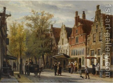 A View Of The Westerstraat, Enkhuizen by Cornelis Springer - Reproduction Oil Painting