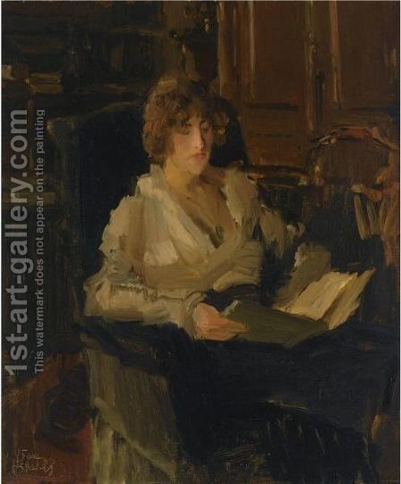 A Woman In A Chair Reading by Isaac Israels - Reproduction Oil Painting
