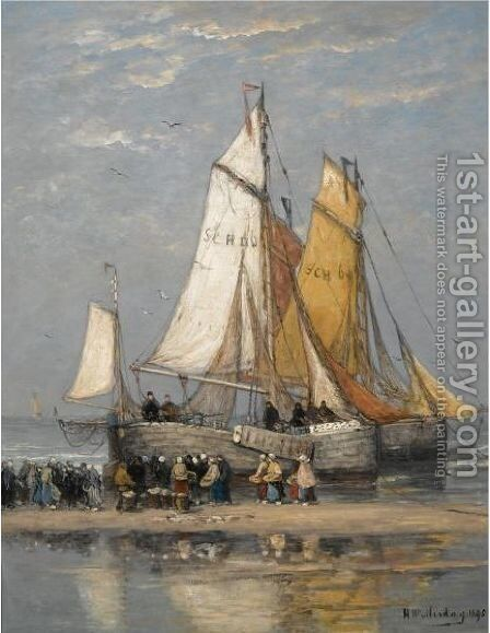 The Return Of The Fishing Fleet On Scheveningen Beach by Hendrik Willem Mesdag - Reproduction Oil Painting