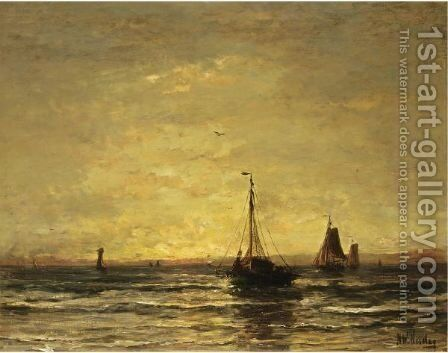 The Return Of The Fleet At Sunset by Hendrik Willem Mesdag - Reproduction Oil Painting