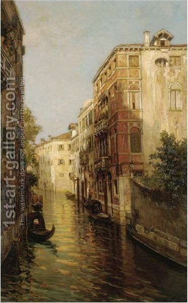 Canal In Venice by Bernardo Hay - Reproduction Oil Painting