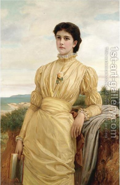 The Lady In The Yellow Dress by Charles E. Perugini - Reproduction Oil Painting