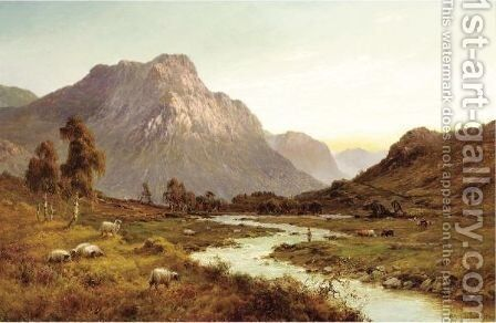 An Angler With Highland Sheep And Cattle by Alfred de Breanski - Reproduction Oil Painting