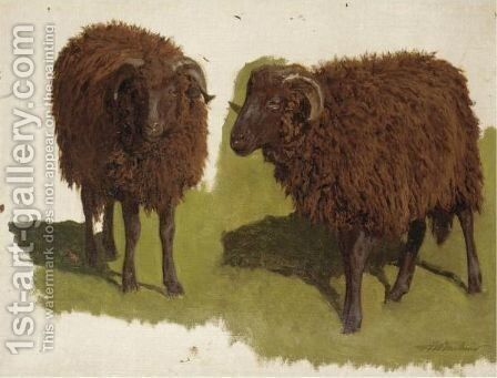 Study Of Black Rams by Auguste Bonheur - Reproduction Oil Painting