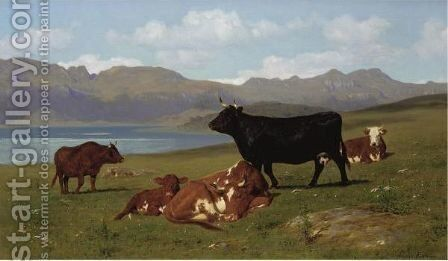 Cattle Grazing On A Hillside With A Lake In The Near Distance by Auguste Bonheur - Reproduction Oil Painting