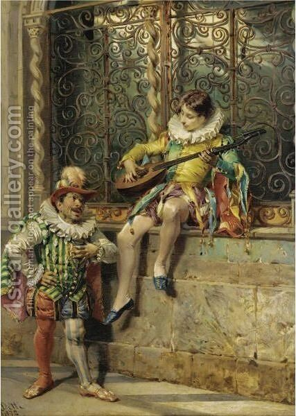 The Musicians by Cesare-Auguste Detti - Reproduction Oil Painting