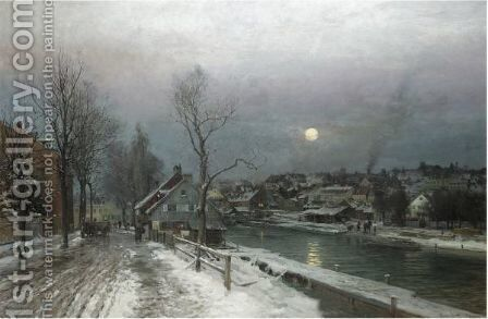 A Busy Town In Moonlight by Anders Anderson-Lundby - Reproduction Oil Painting